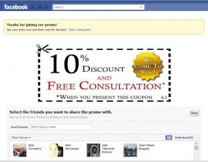 Cupon descuento para tu pagina en facebook